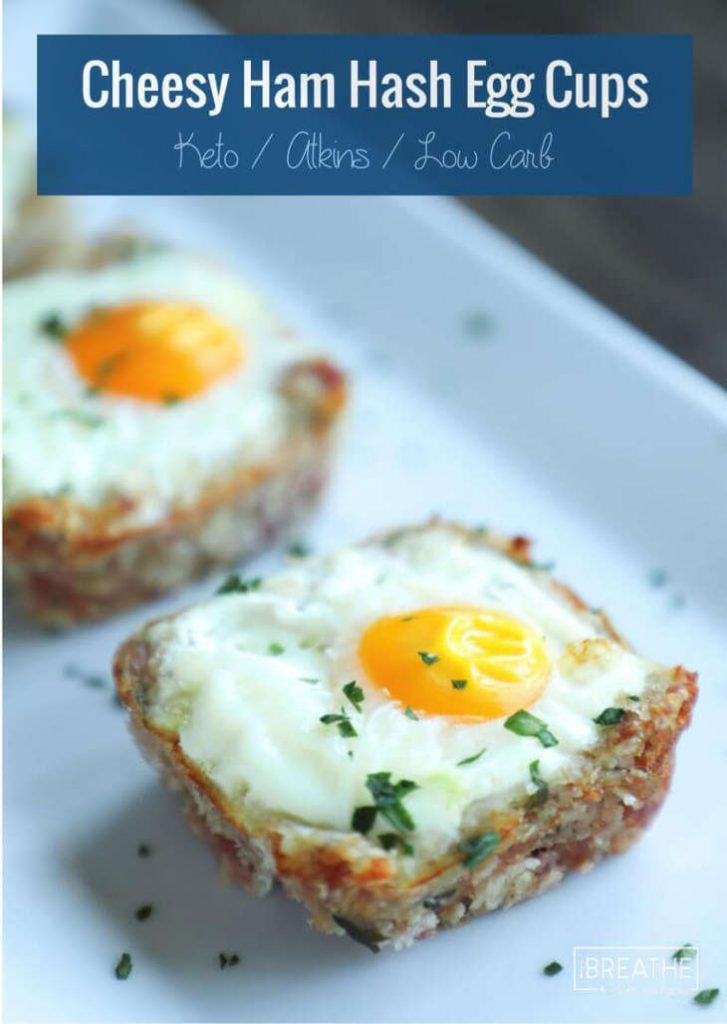 Low Carb Cheesy Ham Hash Egg Cups