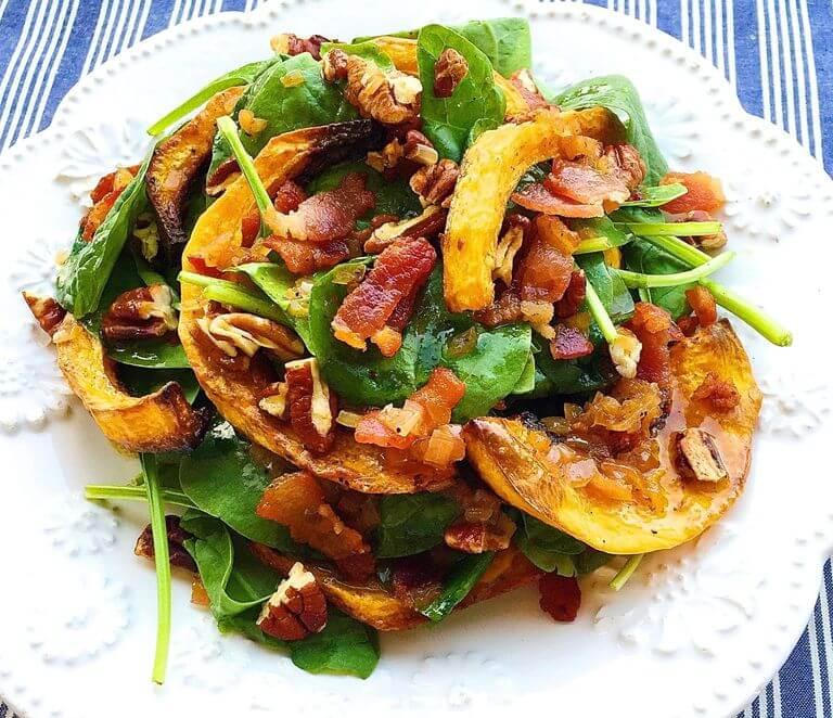 Crispy Butternut Squash Spinach Salad
