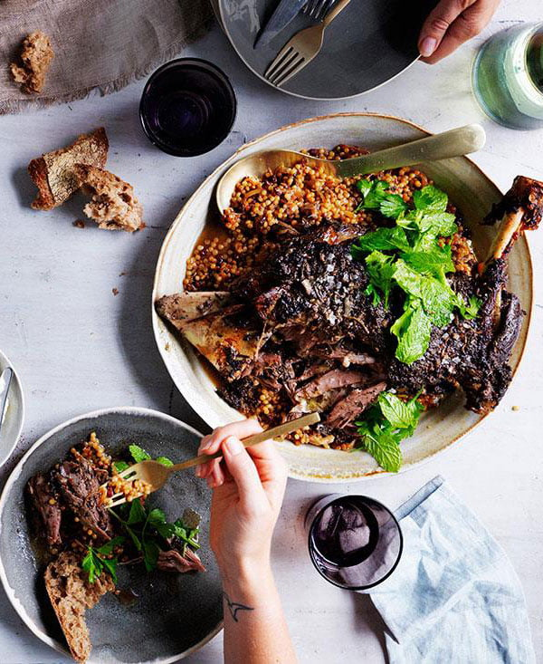 Lamb with Israeli Couscous and Labne
