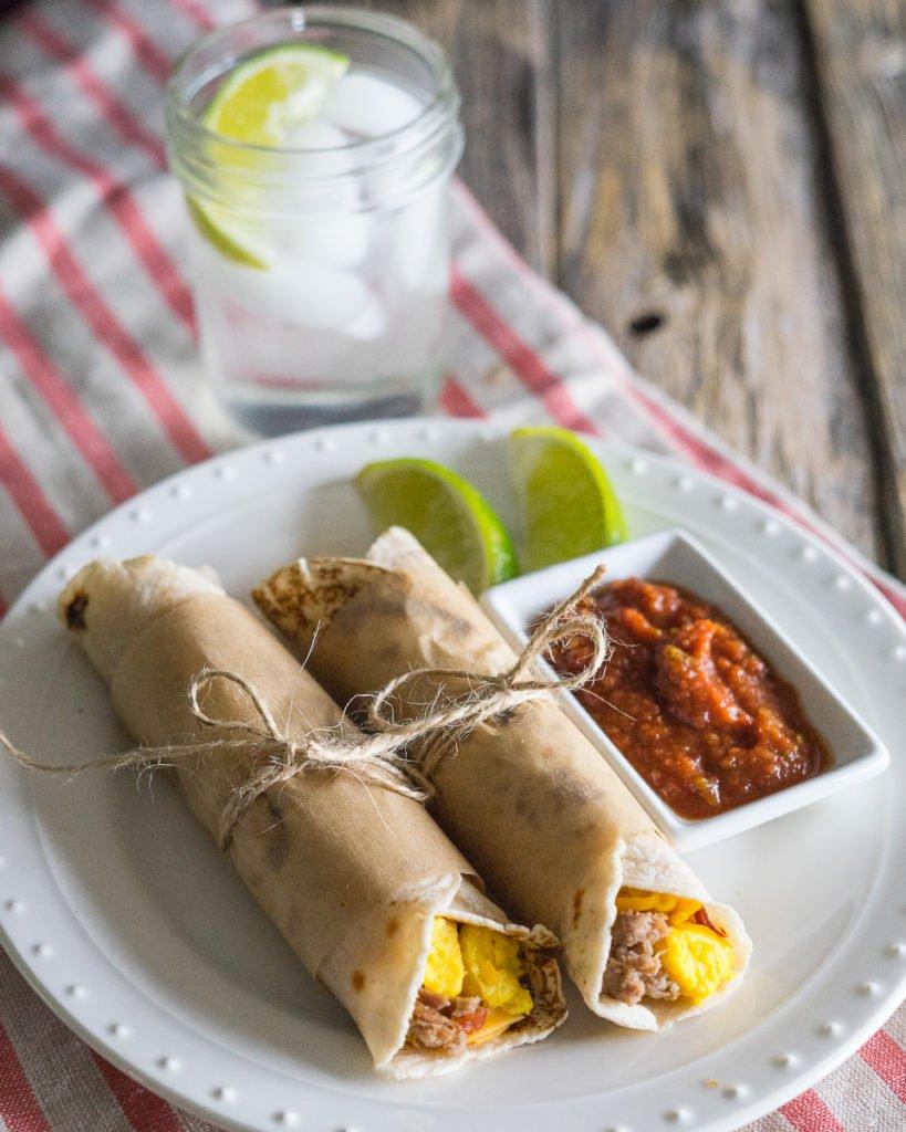 Paleo freezer breakfast burritos