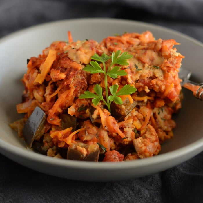 Turkey Sweet Potato Casserole With Eggplant and Tomato
