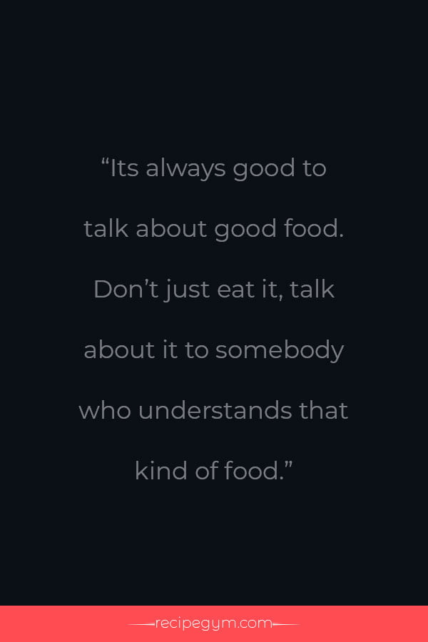 Always good to talk about good food