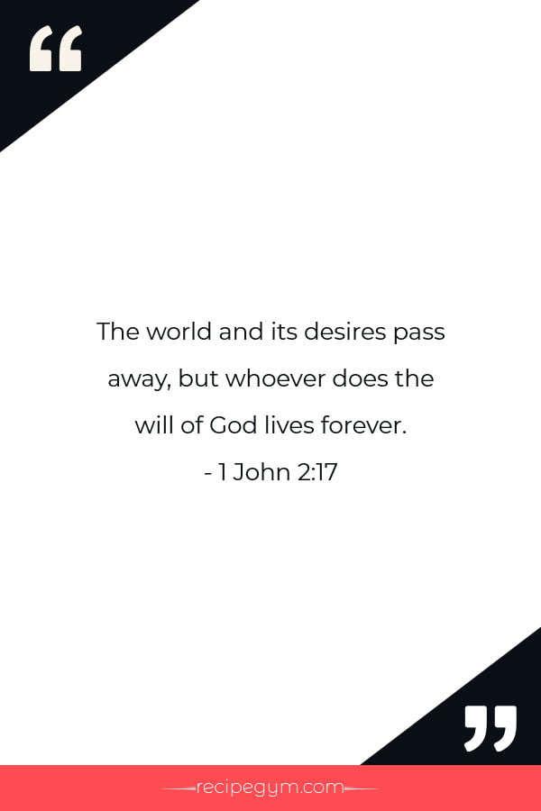 The world and its desires pass away but whoever does the will of God lives forever