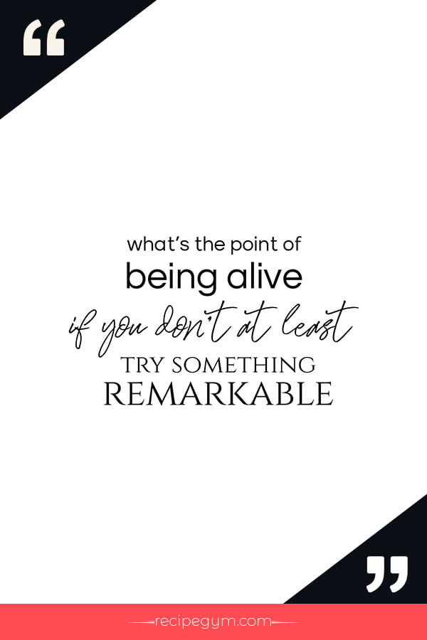 What is the point of being alive if you dont at least try something remarkable